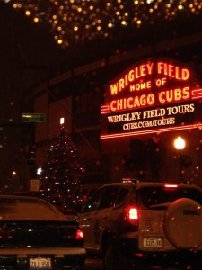 Holiday tree outside of the legondary Wrigley Field, home of the Chicago Cubs baseball team