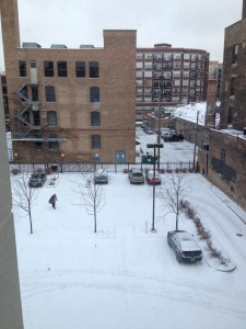 View of parking lot from my office window.