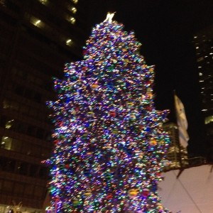 The official City Christmas Tree at Daley Plaza with Chriskindle Market