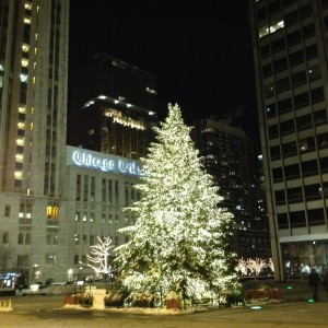 The holiday tree on the plaza shared by The Tribune Company and NBC Tower