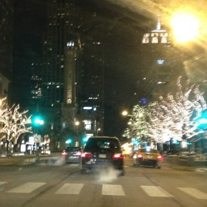 Street Scape along the Magnificent Mile (Michigan Avenue) with the infamous Water Tower in the background.